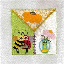 Ladybug And Bee Quilt Block embroidery design