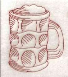 Redwork Beer Stein embroidery design