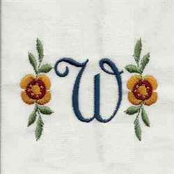 Floral Script Letter W embroidery design