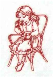 Redwork Girl Sewing embroidery design