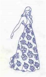 Bluework Fashion Dress embroidery design