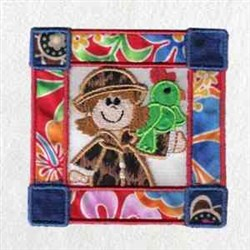 Girl Zoo Block embroidery design