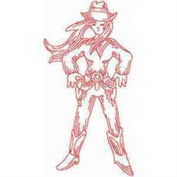 Redwork Cowgirl embroidery design