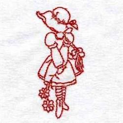 Redwork Sunbonnet Girl embroidery design