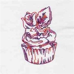 Redwork Cupcake embroidery design