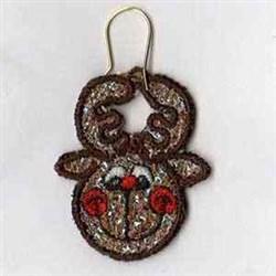 Mylar Reindeer Earring embroidery design