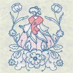 Bluework Flower Lady embroidery design