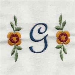 Floral Script Letter G embroidery design