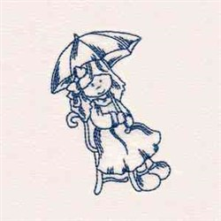 Bluework Rainy Day Girl embroidery design