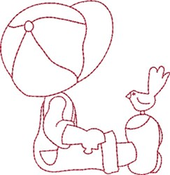 Redwork Boy & Bird embroidery design