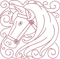 Redwork Horse Block embroidery design