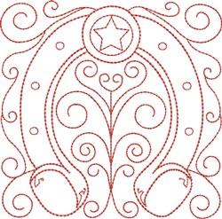 Redwork Horseshoe Block embroidery design