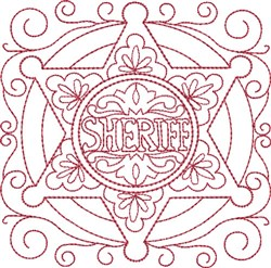 Redwork Sheriff Badge embroidery design