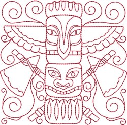Redwork Totem Pole embroidery design