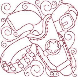Redwork Sheriff Pistol embroidery design
