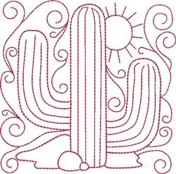 Redwork Saguaro Cactus embroidery design
