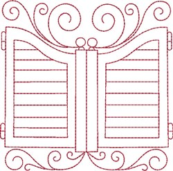 Redwork Saloon Doors embroidery design