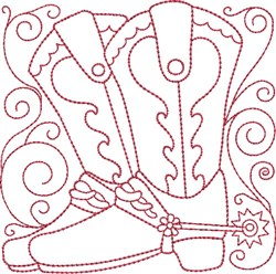 Redwork Cowboy Boots embroidery design