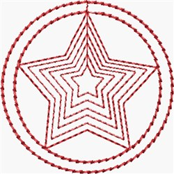 Redwork Sheriff Star embroidery design