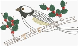 Watchful Bird & Holly embroidery design