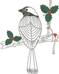 Bird with Holly embroidery design