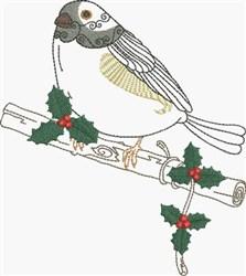 Curious Bird & Holly embroidery design