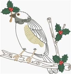 Perched Bird & Holly embroidery design