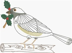 Christmas Bird Perched embroidery design