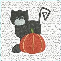 Black Cat Block embroidery design