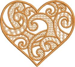Golden Swirly Heart embroidery design