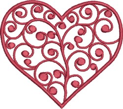 Swirly Ruby Heart embroidery design