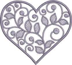 Swirly Lavender Heart embroidery design