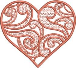 Orange Swirly Heart embroidery design