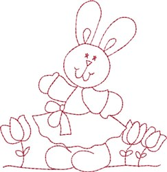 Redwork Happy Bunny embroidery design