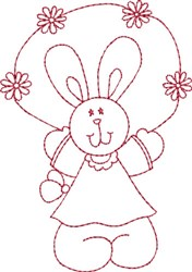 Redwork Bunny Jumping embroidery design