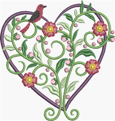 Red Pansies Heart embroidery design