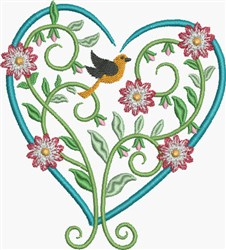 Blue Floral Heart embroidery design