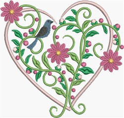 Pink Daisies Heart embroidery design
