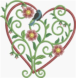 Bluebird Floral Heart embroidery design