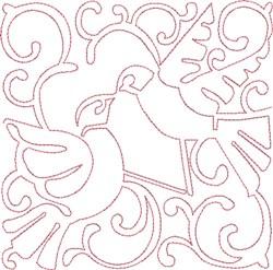 Redwork Turtle Doves embroidery design