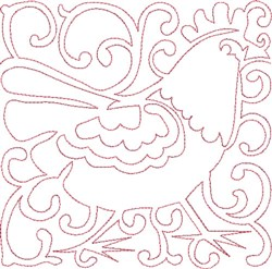 Redwork French Hen embroidery design
