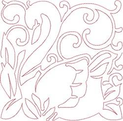Redwork Swan Block embroidery design