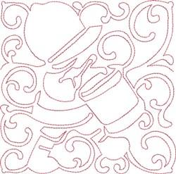 Redwork Drummer Block embroidery design