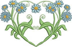 Heart & Blue Daisies embroidery design
