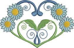 Blue Daisies & Hearts embroidery design