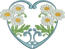 White Daisies & Heart embroidery design
