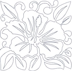 Hawaiian Flower Block embroidery design
