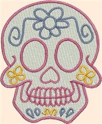 Skull Daisy embroidery design
