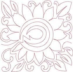 Sunflower Quilt Block embroidery design