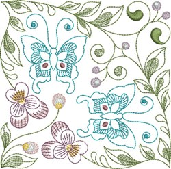 Butterflies & Pansies Square embroidery design